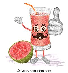 guava fruit juice mustache - unique style illustration of...