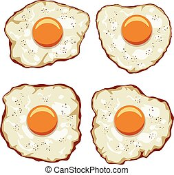 vector set of delicious fried eggs for breakfast
