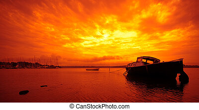 Small boat and Sunset in Denmark - Small boat and Sunset in...