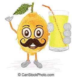 lemon fruit mustache