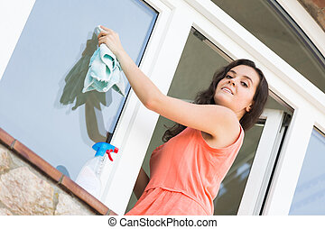 Housewife cleaning windows