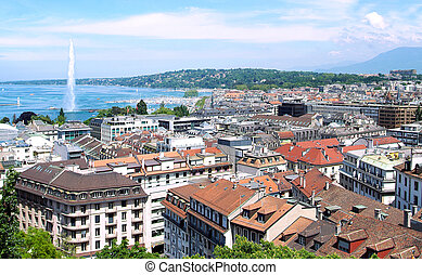 Geneva - The city of Geneva, the Leman Lake and the Water...