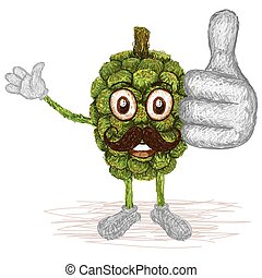 pandanus fruit mustache - unique style illustration of...