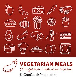 vegetarian meals outline icons