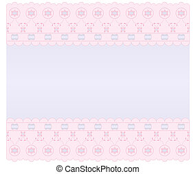 Frame embroidery - Soft lilac background with pink edges...