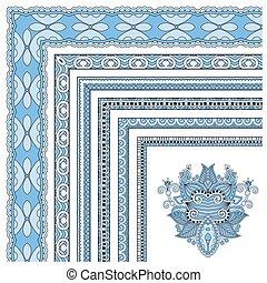 blue colour floral vintage frame design. Vector set. All...