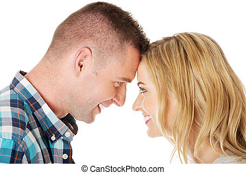 Couple eye contact - Young beautiful couple eye conact