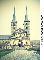 Former Benedictine monastery in Bamberg, Germany Retro style...