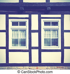 Fachwerk - Windows of old timber framing house, Germany....