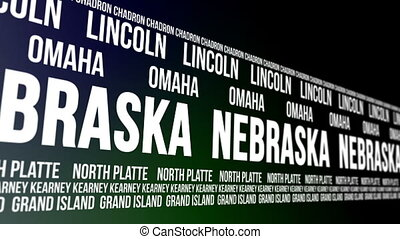 Nebraska State Major Cities Banner - Animated scrolling...