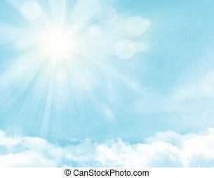 Sunlight and blue sky over clouds background