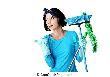 Woman with a mop