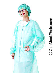 Female doctor wearing protective clothing - Young female...