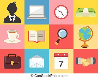 Vector business color flat icon set