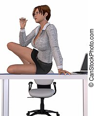 Sexy Secretary - 3D Render of an Sexy Secretary