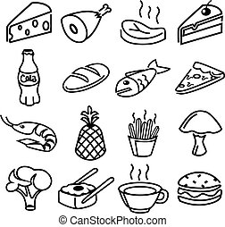 Vector food black icons set