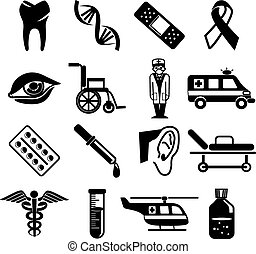Stock vector black medical pictogram icons set