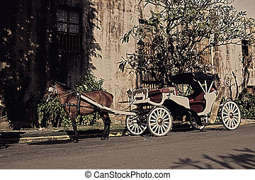 vintage horse-drawn carriage - pan shot of red horse-drawn...