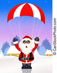 Santa Claus with parachute - illustration of Santa Claus...