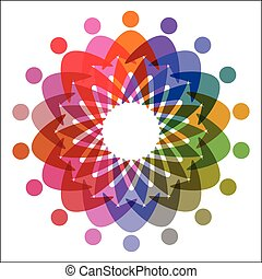 circle of colorful people pictogram