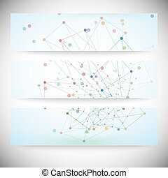 Set of digital backgrounds for communication, molecule structure vector illustration