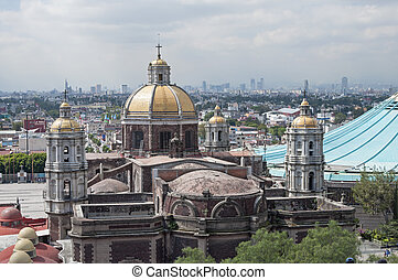 Basilica and skyline of Mexico City - From Tepeyac Hill a...