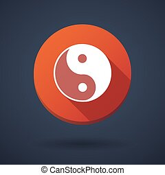 Long shadow icon with a ying yang