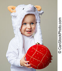 Baby in sheep hat New Year 2015 - Portrait of Caucasian baby...