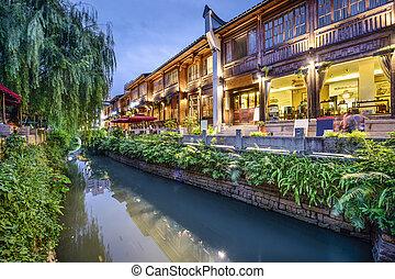 tradycyjny, zakupy,  fuzhou, Porcelana, okręg