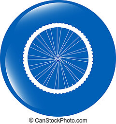 bike wheels glossy web icon button isolated on white...