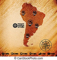 South America map, wooden design background, infographics...