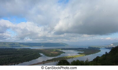 Landscape with Zhiguli mountains and Volga river - Landscape...
