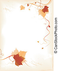 Abstract background with red golden foliage and swirls -...