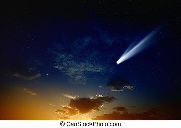 Comet in sunset sky