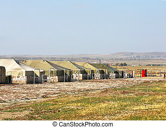 Tents for placement of personnel on military range