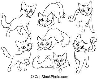 Seven funny cartoon cats over white background, hand drawing...
