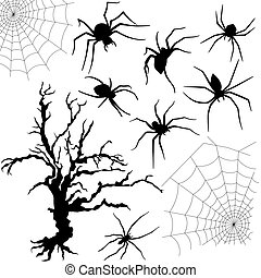 Halloween set of spiders, nettings and dried tree -...