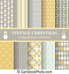 Christmas Retro Set - 10 seamless patterns - for design,...