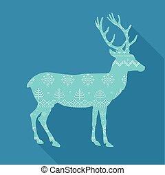 Christmas Deer in Scandinavian Style - vector illustration