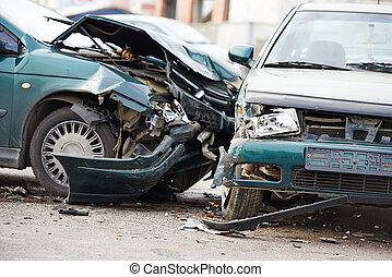 car crash collision in urban street - car crash accident on...