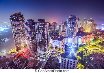 Chongqing, China Cityscape at Night - Chongqing, China...