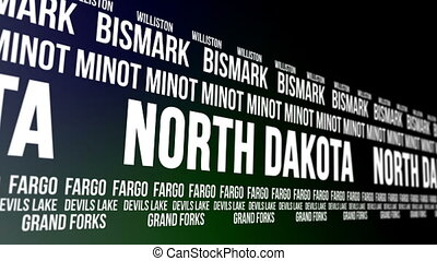 North Dakota State and Major Cities - Animated scrolling...