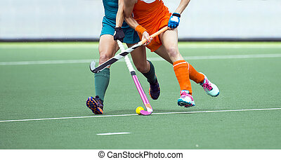 Field hockey match - Two field hockey player, fighting for...
