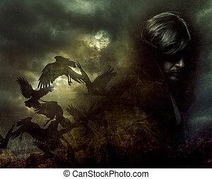Paranormal, hombre, con, largo, pelo, y, negro, chamarra,