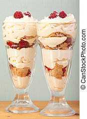 knickerbocker glory - lemon, raspberries and coconut...