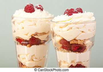 knickerbocker glory - close up lemon, raspberries and...