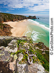 Porthcurno, Cornwall, UK - Porthcurno beach in Cornwall, UK...