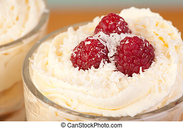 close up desert with raspberries and cream - close up desert...