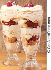 coconut, raspberry and lemon trifle in wooden background