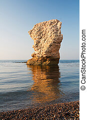 Sea stack in Dorset, UK - Chalk sea stack on Jurassic Coast...